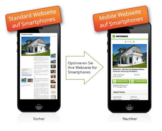 Mobile Webseite Immobilienmakler