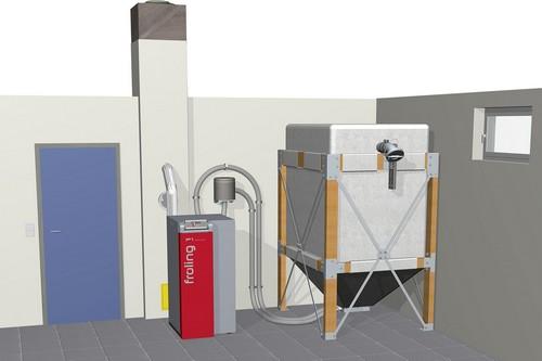Wenn kein eigener Lagerraum für Holzpellets im Haus vorhanden ist, bieten sogenannte Sacksilos zur Aufstellung im oder vor dem Haus eine gute Alternative. Foto: djd/Fröling Heizkessel- und Behälterbau